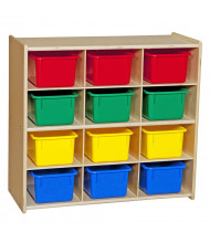 Wood Designs Contender Baltic Birch 12-Cubby Storage Unit with Tubs, Assembled (Shown with Assorted Tubs)
