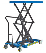 "Vestil CART-1000-D-FR 1000 lb Load 24"" x 40.5"" Heavy Duty Premium Double Scissor Lift Cart"