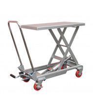 "Vestil CART-200-ALUM 220 lb Load 15.75"" x 27.5"" Manual Hydraulic Aluminum Elevating Lift Cart"