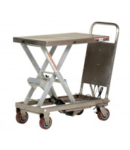 "Vestil CART-500-LA-PSS Partially Stainless Steel Linear Actuated Elevating Cart 500 lb Load 19.5"" x 32"""
