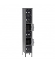 Tennsco C-Thru Assembled 6-Tiered Steel Box Lockers with Legs (Shown in Medium Grey)