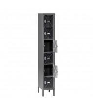 Tennsco C-Thru Assembled 6-Tiered Steel Box Lockers with Legs - Shown in Medium Grey
