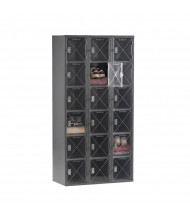 Tennsco C-Thru Assembled 6-Tier 3-Wide Metal Box Lockers without Legs (Shown in Medium Grey)