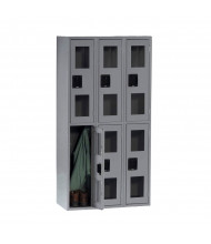 Tennsco C-Thru Assembled Double Tier Metal Lockers without Legs (Shown in Medium Grey)