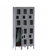 Tennsco C-Thru Assembled Double Tier 3-Wide Metal Lockers with Legs (Shown in Medium Grey)