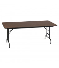 "Correll 72"" W x 30"" D Height Adjustable 17"" - 27"" Rectangular 0.75"" High Pressure Top Folding Table, Walnut"