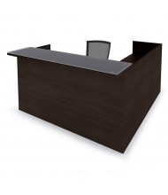 "Cherryman Amber 71"" W Glass Counter Suspended Pedestals L-Shaped Reception Desk (Shown in Black Cherry)"