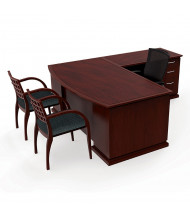 "Cherryman Emerald 72"" W L-Shaped Bow Front Double Pedestal Office Desk (Shown in Mahogany)"