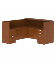 "Cherryman Jade 72"" W Wood Counter Double Pedestal L-Shaped Bow Front Reception Desk (Shown in Cherry)"