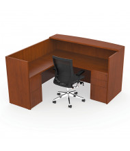 "Cherryman Ruby 72"" W Double Pedestal L-Shaped Reception Desk, Paprika Cherry (Chair Is Not Included)"