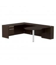 Cherryman Verde L-Shaped Pedestal Office Desk, Left Return (Shown in Espresso)