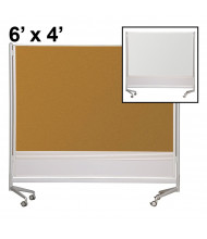 Best-Rite Evolution Projection Surface/Cork 6 x 4 D.O.C. Mobile Divider Reversible (Both Sides Shown)
