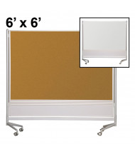 Best-Rite Evolution Projection Surface/Cork 6 x 6 D.O.C. Mobile Divider Reversible (Both Sides Shown)