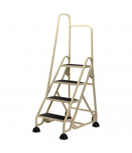 "Cramer 66-1/4"" H Four-Step Stop-Step Folding Aluminum Ladder, Right Handrail, Beige"