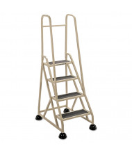 "Cramer 66-1/4"" H Four-Step Stop-Step Folding Aluminum Ladder, Two Handrails, Beige"
