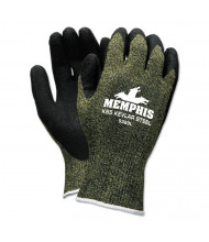 Memphis KS-5 Latex Dip Gloves, 13 gauge, Green/Black, Large