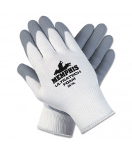 Memphis Ultra Tech Foam Seamless Nylon Knit Gloves, Small, White/Gray