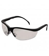 Crews Klondike Safety Glasses, Matte Black Frame, Clear Lens, 12/Pack