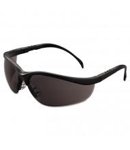 Crews Klondike Safety Glasses, Matte Black Frame, Gray Lens, 12/Pack