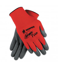 Memphis Ninja Flex Latex Coated Palm Gloves N9680L, Large, Red/Gray, 12/Pair