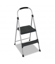 Cosco 2 Step Folding Step Stool, Aluminum, Platinum/Black