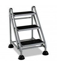 Cosco 3 Step Rolling Step Stool, Platinum/Black