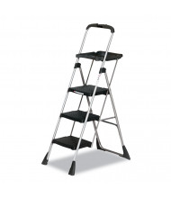 "Cosco 55"" H 3-Step Max Work Steel Platform Ladder, Black"
