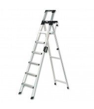 Cosco Signature Series 8' H 6-Step Aluminum Folding Step Ladder With Leg Lock & Handle, Aluminum
