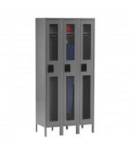 Tennsco C-Thru Assembled Single Tier Metal Lockers with Legs (Shown in Medium Grey)