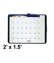 Quartet Designer 2' x 1.5' Tack and Write Monthly Calendar Grid Black Frame Whiteboard