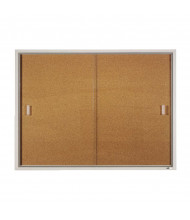 Quartet D2401 Indoor 2 Sliding Door 4 ft. x 3 ft. Aluminum Frame Cork Bulletin Board