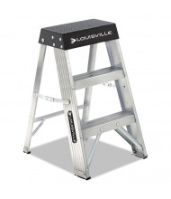 Louisville 3 Step Folding Step Stool, Aluminum/Black