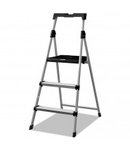 Louisville 3 Step Working Platform Step Stool, Aluminum, SIlver