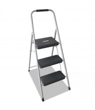 Louisville 3 Step Folding Step Stool, Steel, Gray