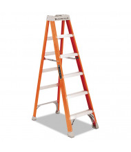"Louisville 73-3/5"" H 5-Step Fiberglass Heavy Duty Step Ladder, Orange"