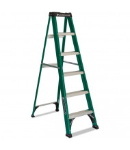 Louisville 6 H 5-Step Folding Fiberglass Step Ladder, Green/Black