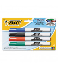 BIC Great Erase Bold Pocket Dry Erase Marker, Fine Point, Assorted, 4-Pack