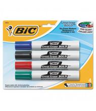 BIC Great Erase Bold Dry Erase Marker, Chisel Tip, Assorted, 4-Pack