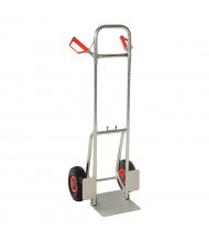 "Vestil DHHT-250A Dual Handle 250 lb Load 11.75"" Nose Aluminum Fold Down Hand Trucks (Shown with Pneumatic Wheels)"