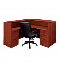 DMI Fairplex L-Shaped Double Pedestal Reception Desk (Shown in Cognac Cherry)