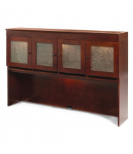 "DMI Del Mar 70"" W Crackle Glass Door Overhead Storage Hutch, Cherry"