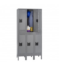 Tennsco Assembled Double Tier 3-Wide Metal Lockers with Legs (Shown in Medium Grey)