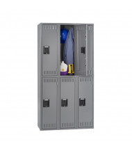 Tennsco Assembled Double Tier 3-Wide Metal Lockers without Legs (Shown in Medium Grey)