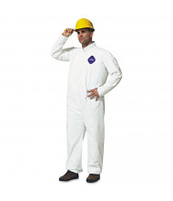 DuPont Tyvek Coveralls, Open Wrist/Ankle, HD Polyethylene, White, Large, 25/Pack