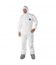 DuPont Tyvek Elastic-Cuff Hooded Coveralls w/Boots, White, 2X-Large, 25/Pack