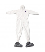 DuPont Tyvek Elastic-Cuff Hooded Coveralls w/Boots, White, 4X-Large, 25/Pack