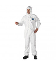 DuPont Tyvek Elastic-Cuff Hooded Coveralls, HD Polyethylene, White, 3X-Large, 25/Pack