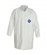 DuPont Tyvek Lab Coat, White, Snap Front, 2 Pockets, Medium, 30/Pack