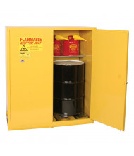Eagle 5510 Self Close Two Door 2-Vertical Drum Safety Cabinet, 110 Gallons, Yellow (Example of Use)