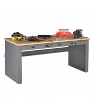 Tennsco Compressed Wood Electronic Workbenches with Panel Legs (Model without Electronic Riser Shown)